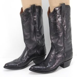 AMMONS BLACK LEATHER LIZARD COWBOY BOOTS 36